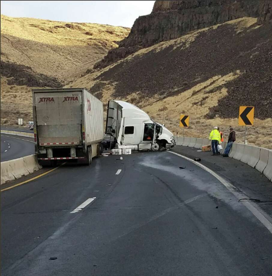 A semi truck sits damaged across both eastbound lanes of Interstate 90 on Monday morning near Vantage. Officials had no estimate for a reopening of the highway. Photo: Trooper Brian Moore