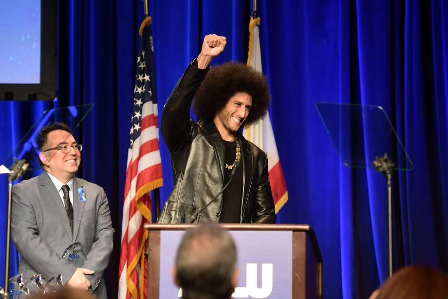 Hector Villagra, executive director at ACLU Southern California, and honoree Colin Kaepernick onstage at ACLU SoCal Hosts Annual Bill of Rights Dinner at the Beverly Wilshire Four Seasons Hotel on December 3, 2017. Photo: Matt Winkelmeyer, Getty Images
