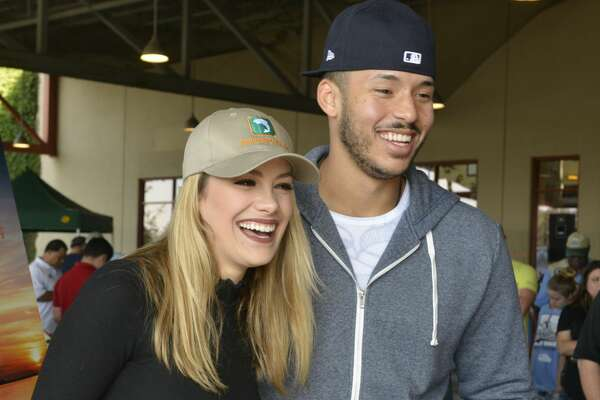Houston Astros' World Series champion Carlos Correa and his fianceŽ Daniella Rodriguez in partnership with Vamos A Pescarª share their passion for fishing and boating with over 100 families at Bass Pro Shops Katy on Saturday, Dec. 2, 2017, in Katy, Texas. (Anthony Rathbun/AP Images for Bass Pro Shops)
