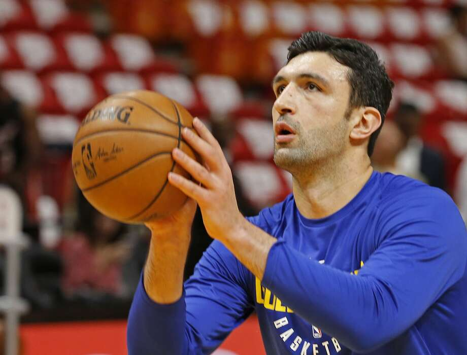 Golden State Warriors center Zaza Pachulia (27) shoots during warmups before the Warriors played against the Miami Heat in an NBA basketball game, Sunday, Dec. 3, 2017, in Miami. (AP Photo/Joe Skipper) Photo: Joe Skipper, Associated Press