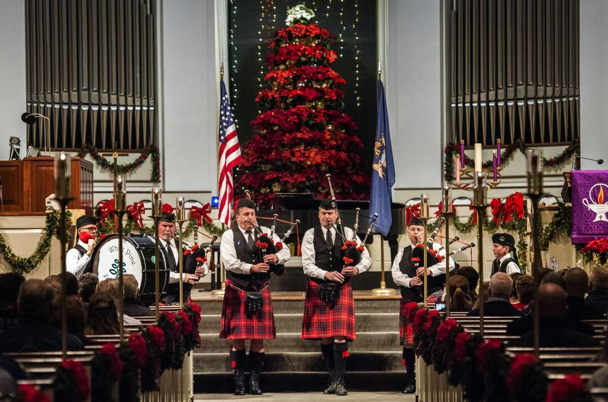 White Pine Celtic Arts Pipes and Drums play Amazing Grace during Project Blue Light, a ceremony honoring first responders, on Sunday, Dec. 3, 2017 at Memorial Presbyterian Church. (Danielle McGrew Tenbusch/for the Daily News)