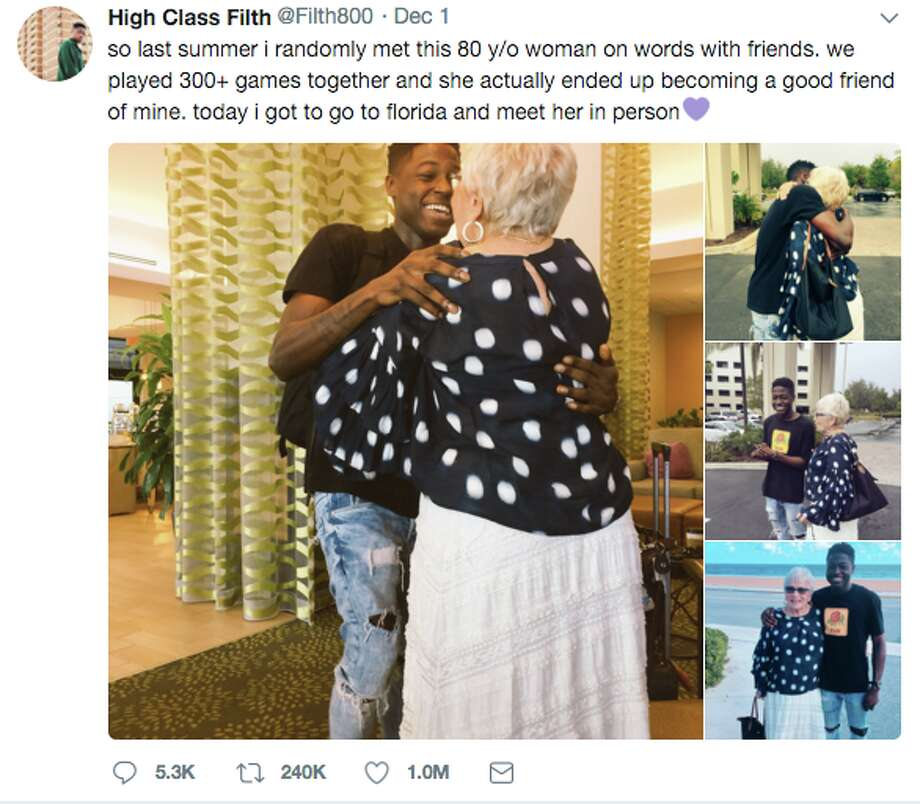 Two Words with Friends competitors took their unlikely friendship offline last weekend when a young Maryland man flew cross-country to meet his 81-year-old rival in real-life. Photo: Twitter Screen Grab