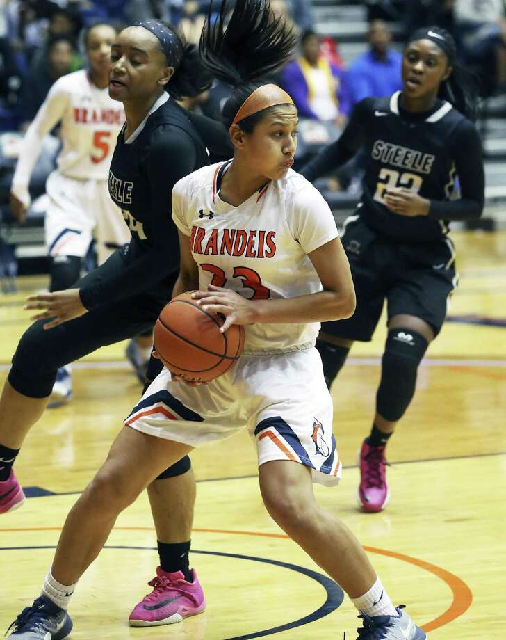 Ariana Villa starts a break with a defensive rebound as Brandeis plays Steele in class 6A third round playoff action at UTSA on February 21, 2017. Photo: Tom Reel, Staff / San Antonio Express-News / 2017 SAN ANTONIO EXPRESS-NEWS
