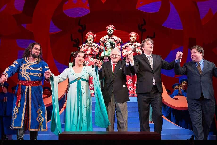 "David Hockney (center) takes a bow after S.F. Opera's ""Turandot."" Photo: Drew Altizer, Photo - Ando Caulfield For Drew"