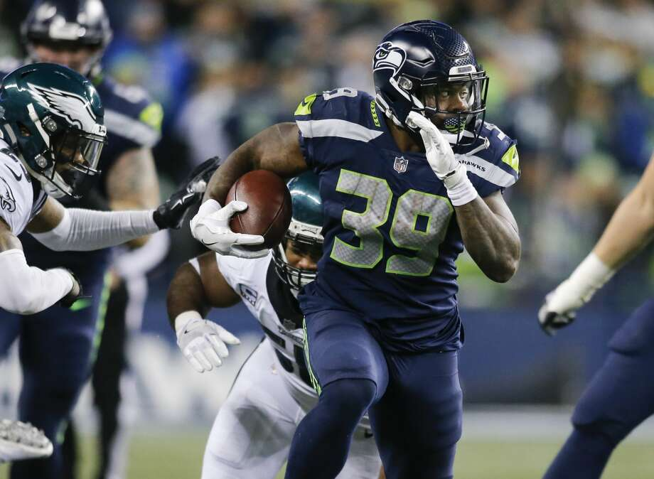 SEATTLE, WA - DECEMBER 03: Running back Mike Davis #39 of the Seattle Seahawks rushes against the Philadelphia Eagles in the fourth quarter at CenturyLink Field on December 3, 2017 in Seattle, Washington. (Photo by Jonathan Ferrey/Getty Images) Photo: Jonathan Ferrey/Getty Images