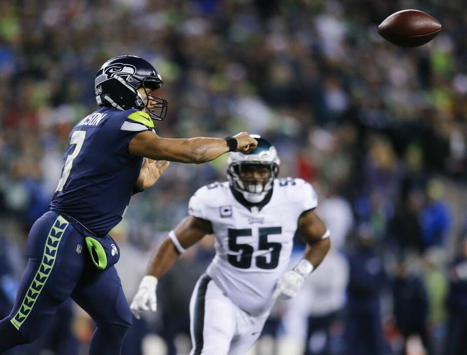 SEATTLE, WA - DECEMBER 03: Quarterback Russell Wilson #3 of the Seattle Seahawks passes against the Philadelphia Eagles in the third quarter at CenturyLink Field on December 3, 2017 in Seattle, Washington. (Photo by Jonathan Ferrey/Getty Images) Photo: Jonathan Ferrey/Getty Images