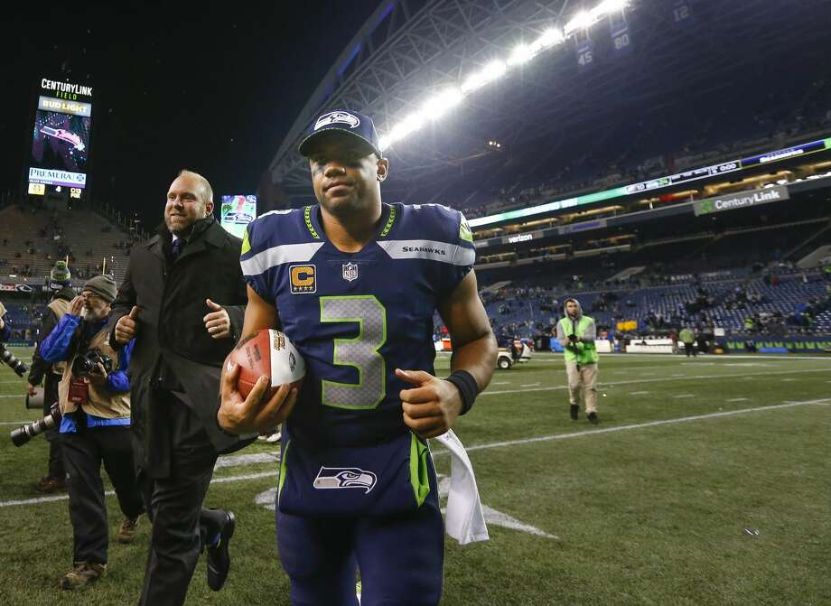 SEATTLE, WA - DECEMBER 03: Russell Wilson #3 of the Seattle Seahawks runs off the field after beating the Philadelphia Eagles at CenturyLink Field on December 3, 2017 in Seattle, Washington. The Seattle Seahawks beat the Philadelphia Eagles 24-10. (Photo by Jonathan Ferrey/Getty Images) Photo: Jonathan Ferrey/Getty Images