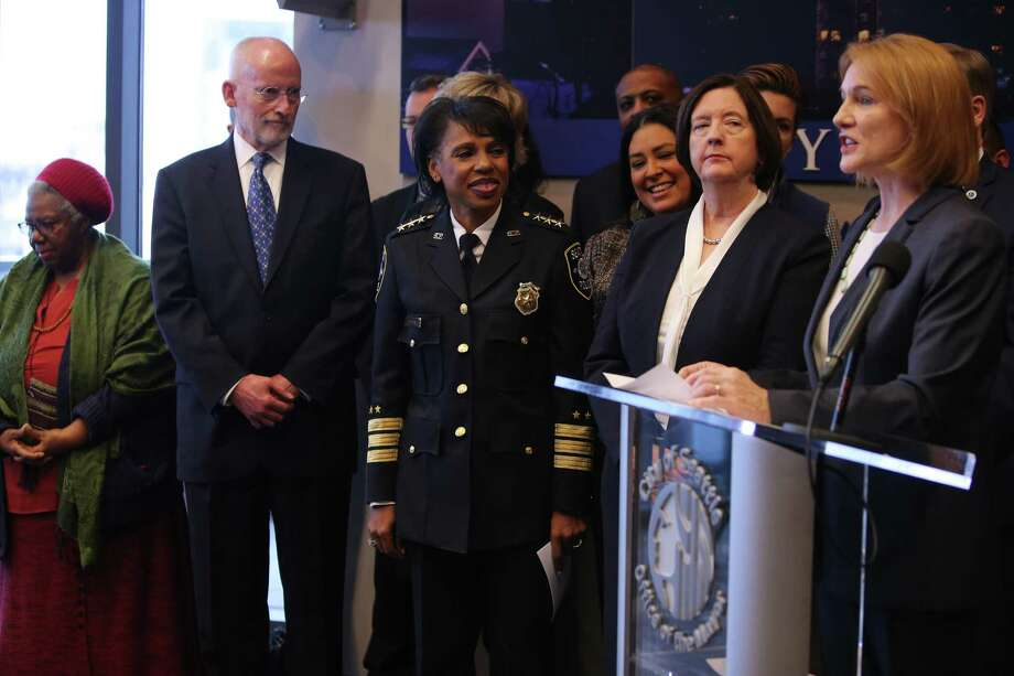 Seattle Mayor Jenny Durkan announces the search for a new chief of police as Kathleen O'Toole, center-right, steps down from the position she has held for three and a half years. Deputy Chief Carmen Best, center, is interim chief.  U.S. District Judge James Robart gave O'Toole much credit for bringing the SPD and community together and putting Seattle in compliance with a Justice Department consent decree.  Photo: GENNA MARTIN, SEATTLEPI / SEATTLEPI