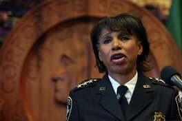 Seattle Deputy Police Carmen Best announces she will become interim Chief of Police as Kathleen O'Toole stepts down from the position she has held for three and a half years, December 4, 2017 at City Hall.