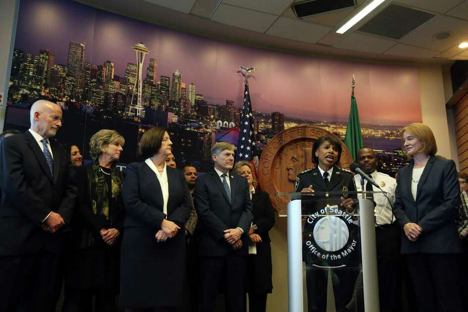 Seattle Deputy Police Carmen Best announces she will become interim Chief of Police as Kathleen O'Toole steps down from the position she has held for three and a half years, December 4, 2017 at City Hall.