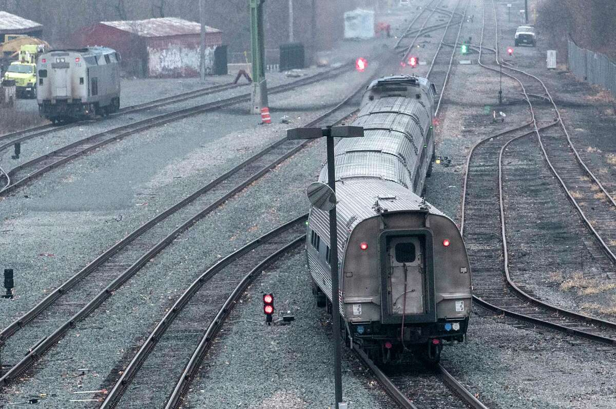 A train bound for New York City leaves the station on the occasion of the 50th Anniversary of Amtrak's Empire Service at the Albany-Rensselaer Station on Monday, Dec 4, 2017, in Rensselaer, N.Y. (Skip Dickstein/ Times Union)