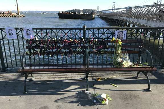 "Remnants of a shrine for Kate Steinle built by self-proclaimed ""alt-right"" group after the Steinle family asked for it to be removed."