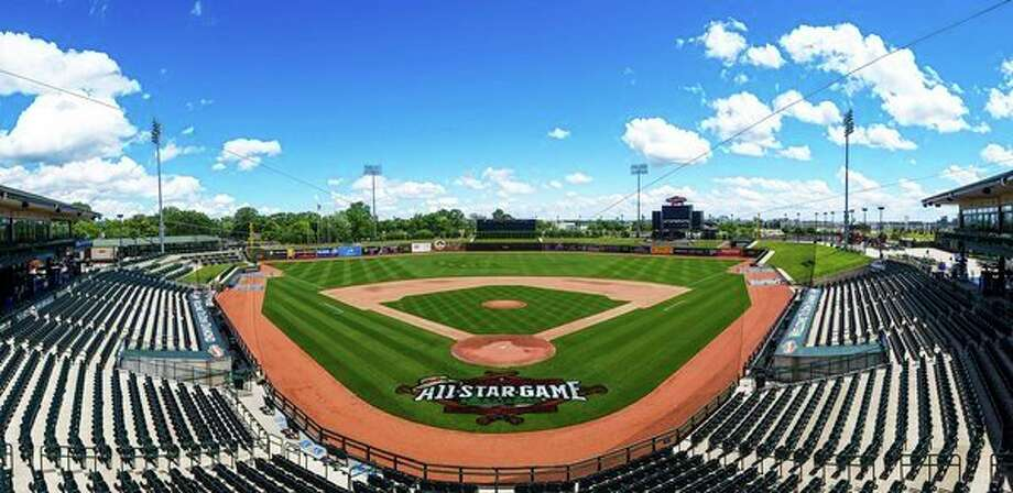 Great Lakes Loons' head groundskeeper Kelly Rensel formulated this field design at Dow Diamond for the 2017 Midwest League All-Star Game. Rensel was named the winner of the Sports Turf Managers Association's annual Mowing Patterns Contest for the design. (photo provided)