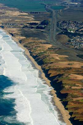 Aerial view of Marina, a city of 20,000 in Monterey County. The water utility that serves Monterey, Seaside, Pacific Grove, Pebble Beach and Carmel, wants to drill seven slant wells under Marina's city limits to take water for its customers. Marina is not one.
