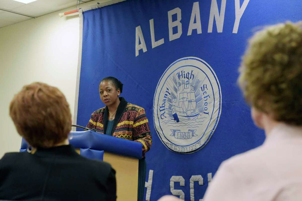 Albany School Superintendent Kaweeda Adams addresses those gathered for a press event at Albany High, to highlight a new program that will offer support to students exposed to trauma outside school, on Thursday, Nov. 30, 2017, in Albany, N.Y. (Paul Buckowski / Times Union)