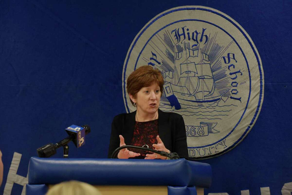 Albany Mayor Kathy Sheehan addresses those gathered for a press event at Albany High, to highlight a new program that will offer support to students exposed to trauma outside school, on Thursday, Nov. 30, 2017, in Albany, N.Y. (Paul Buckowski / Times Union)