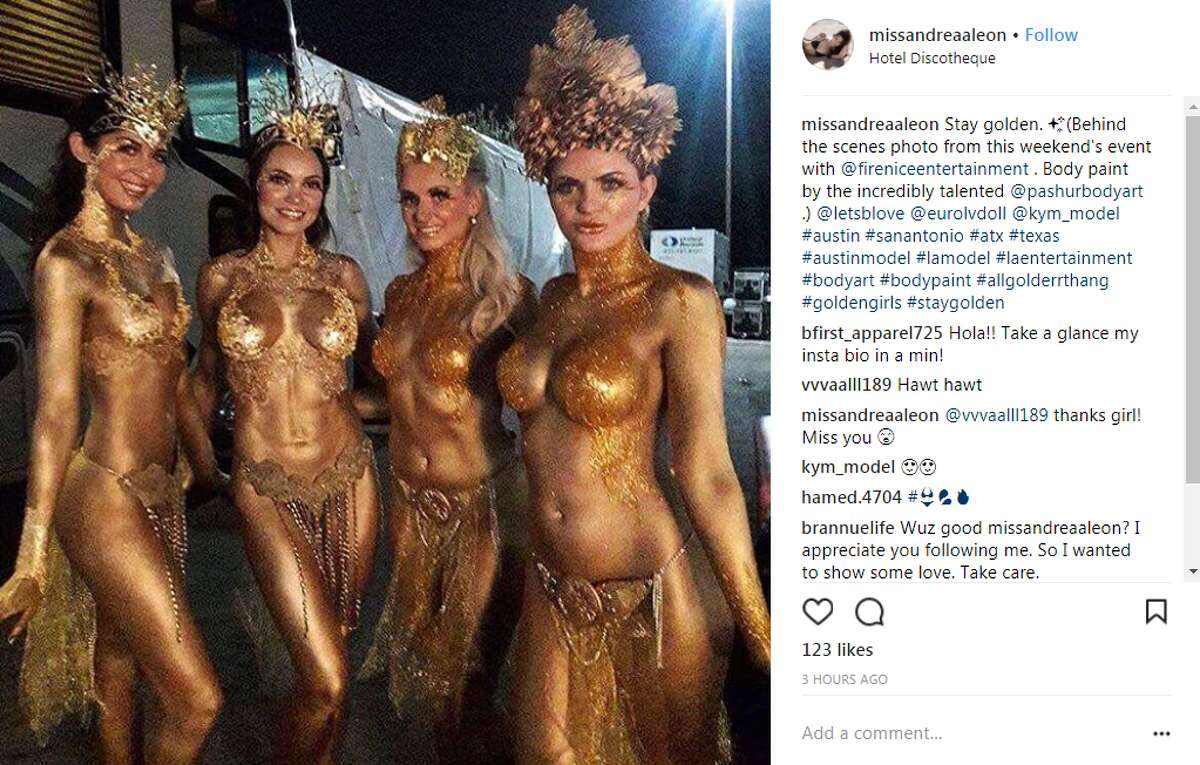 missandreaaleon: Stay golden. (Behind the scenes photo from this weekend's event with @fireniceentertainment . Body paint by the incredibly talented @pashurbodyart .) @letsblove @eurolvdoll @kym_model #austin #sanantonio #atx #texas #austinmodel #lamodel #laentertainment #bodyart #bodypaint #allgolderrthang #goldengirls #staygolden