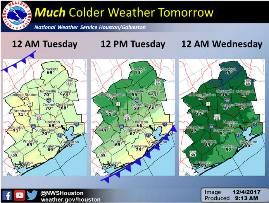 The National Weather Service's Houston/Galveston office forecasts cold temperatures for Dec. 5 and 6, 2017 in east Texas.See how Houstonians react to cold weather in the gallery ahead. Photo: National Weather Service