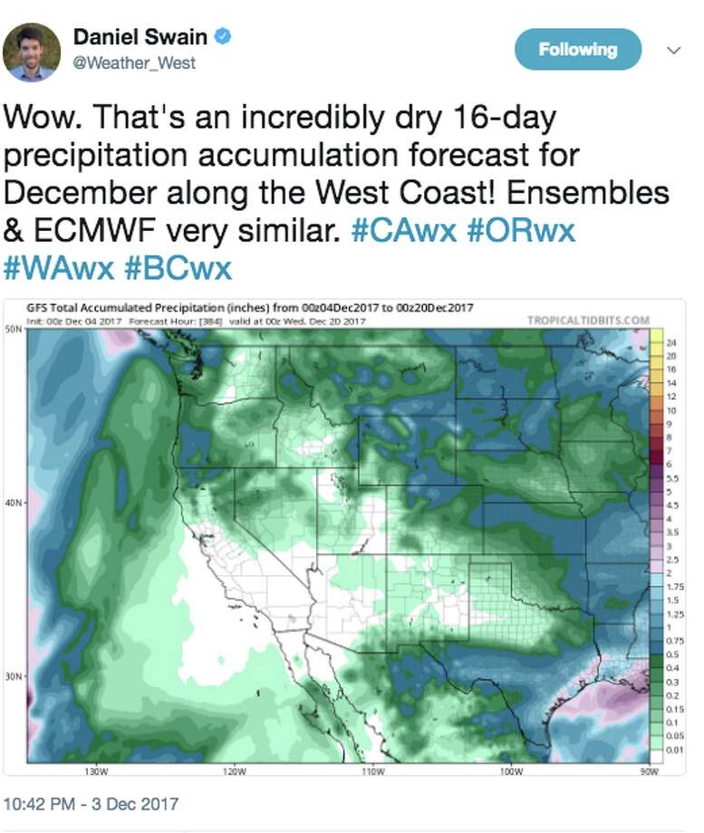 Daniel Swain, a climate scientist at UCLA, explains a ridge of high pressure over the Western United States. Photo: Daniel Swain / @weather_west