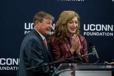 Philanthropist Peter J. Werth and UConn President Susan Herbst together at the podium during a press conference announcing Werth's $22.5 million commitment to the University during a press conference at the Storrs campus in the NextGen Residence Hall on Monday, Dec. 4, 2017.