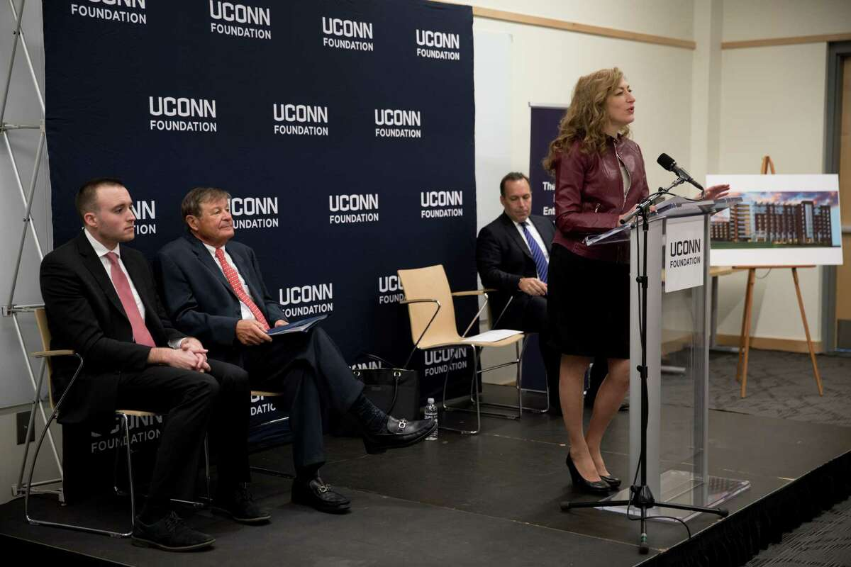 UConn President Susan Herbst addresses the guests at a press conference at the Storrs campus in the NextGen Residence Hall to announce a $22.5 million commitment from philanthropist Peter J. Werth to the UConn Foundation on Monday, Dec. 4, 2017.