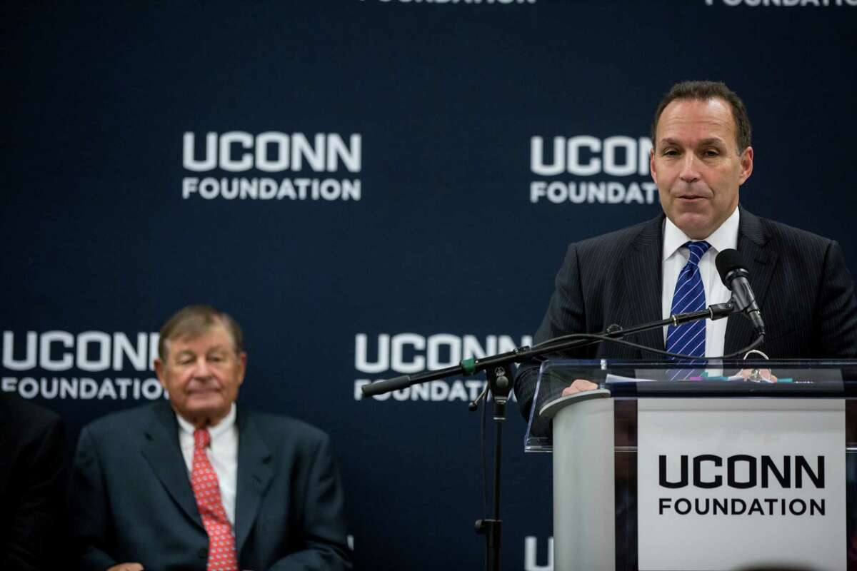 Dan Toscano speaks at a press conference at the Storrs campus in the NextGen Residence Hall to announce a $22.5 million commitment from philanthropist Peter J. Werth to the UConn Foundation on Monday, Dec. 4, 2017.