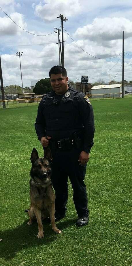La Marque police officer Jose Santos with his dog, Rocky. Photo: La Marque Police Department