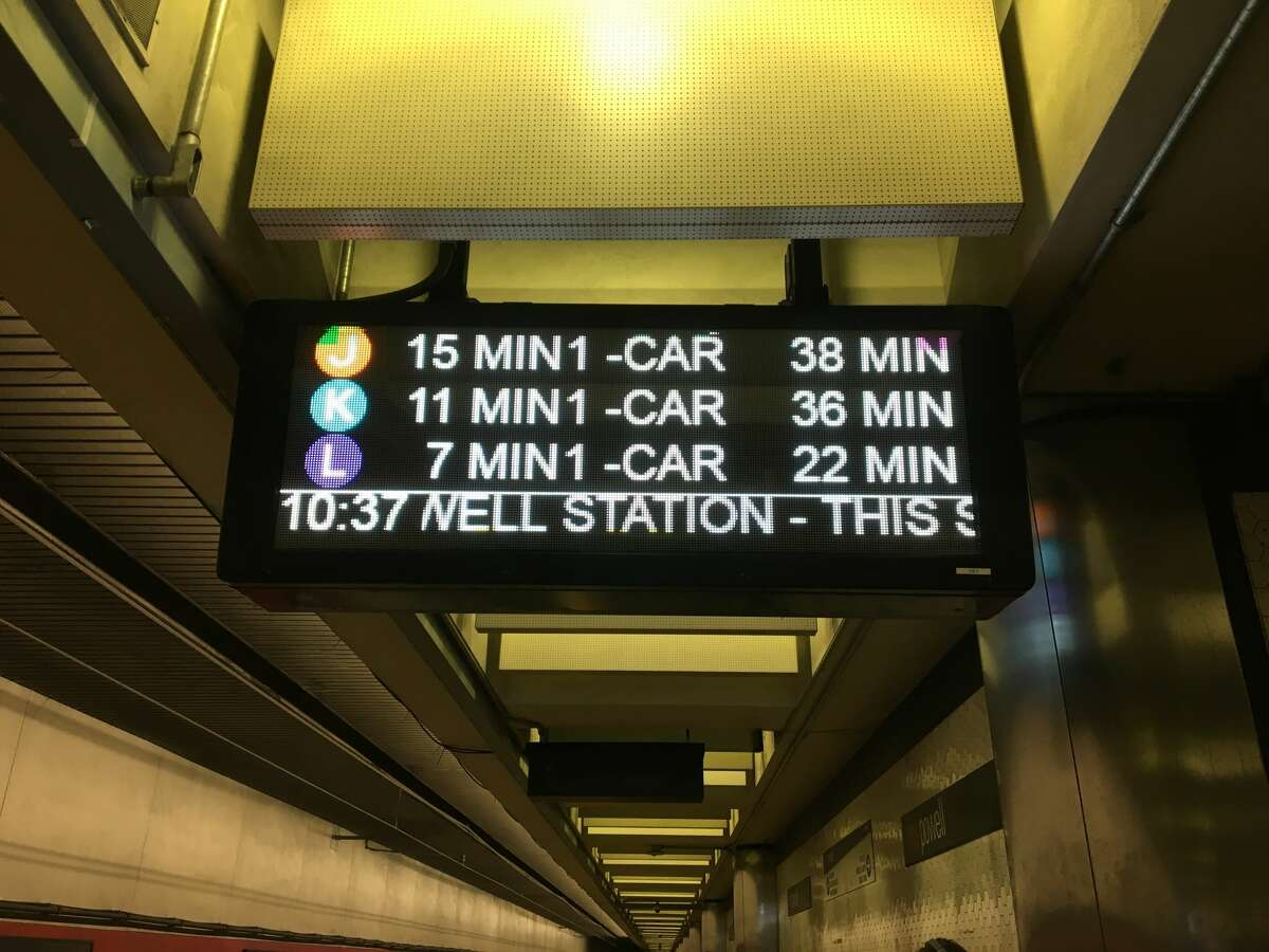 A new Muni Metro sign is seen on Dec. 3, 2017.The second format looks like this.
