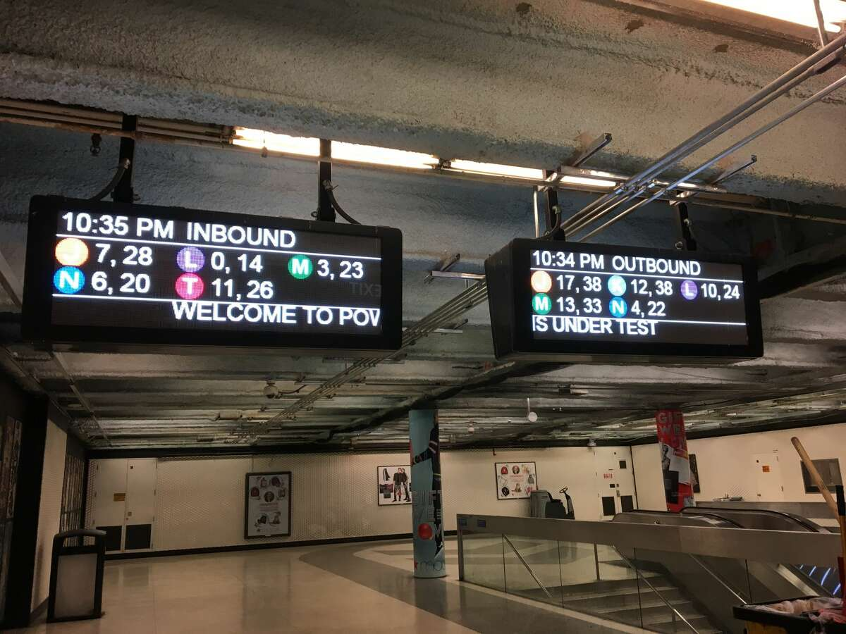 A pair of new Muni Metro sign are seen on Dec. 3, 2017. This is the first of two formats.