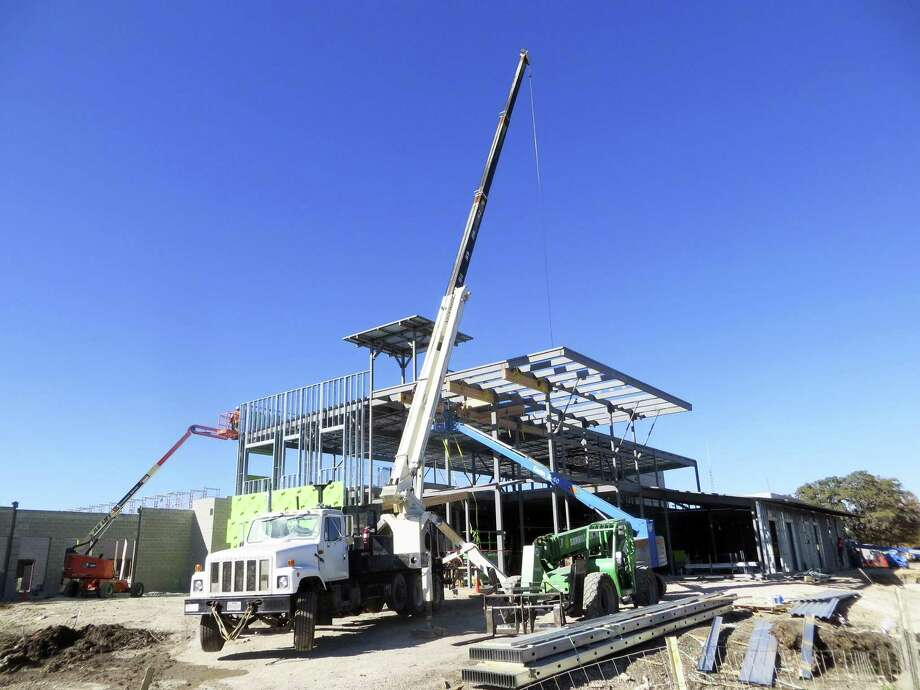 Construction is underway on a new Kendall County jail and sheriff's offices beside the existing law enforcement center on Staudt Street in Boerne. Photo: Zeke MacCormack /San Antonio Express-News