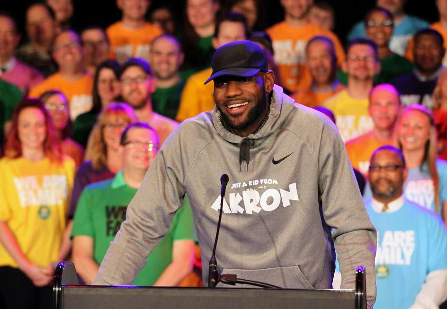 Surrounded by students and community partners, LeBron James talks about the creation of the I Promise School during an LeBron James Family Foundation event on Tuesday, April 11, 2017 in the East End Goodyear Theater in Akron, Ohio. (Michael Chritton/Akron Beacon Journal/TNS) Photo: Michael Chritton/TNS