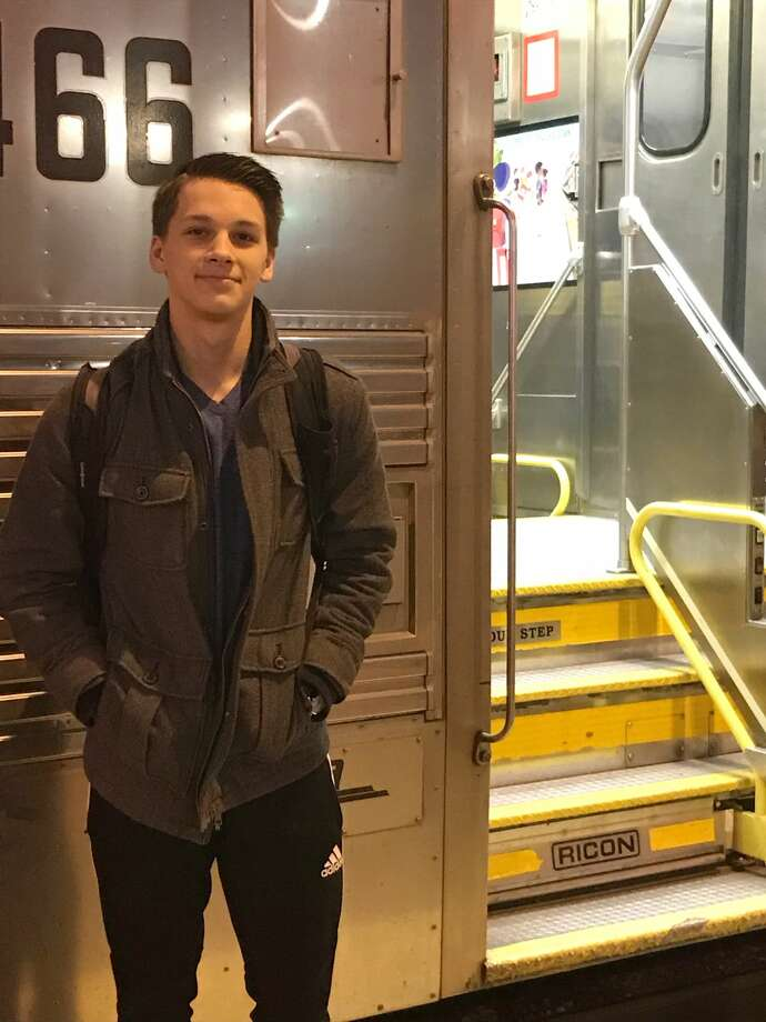 Zachary Jeppsen, 17, wants to be a professional dancer, and he's pursuing that dream at The Chicago Academy for the Arts, where he is a junior. He lives near Whitewater and must commute six hours a day round trip to school. He rides part of the way in the family car, then on the Metra commuter train shown here, and also on a school bus. (Tracey Hall) Photo: Tracey Hall/TNS