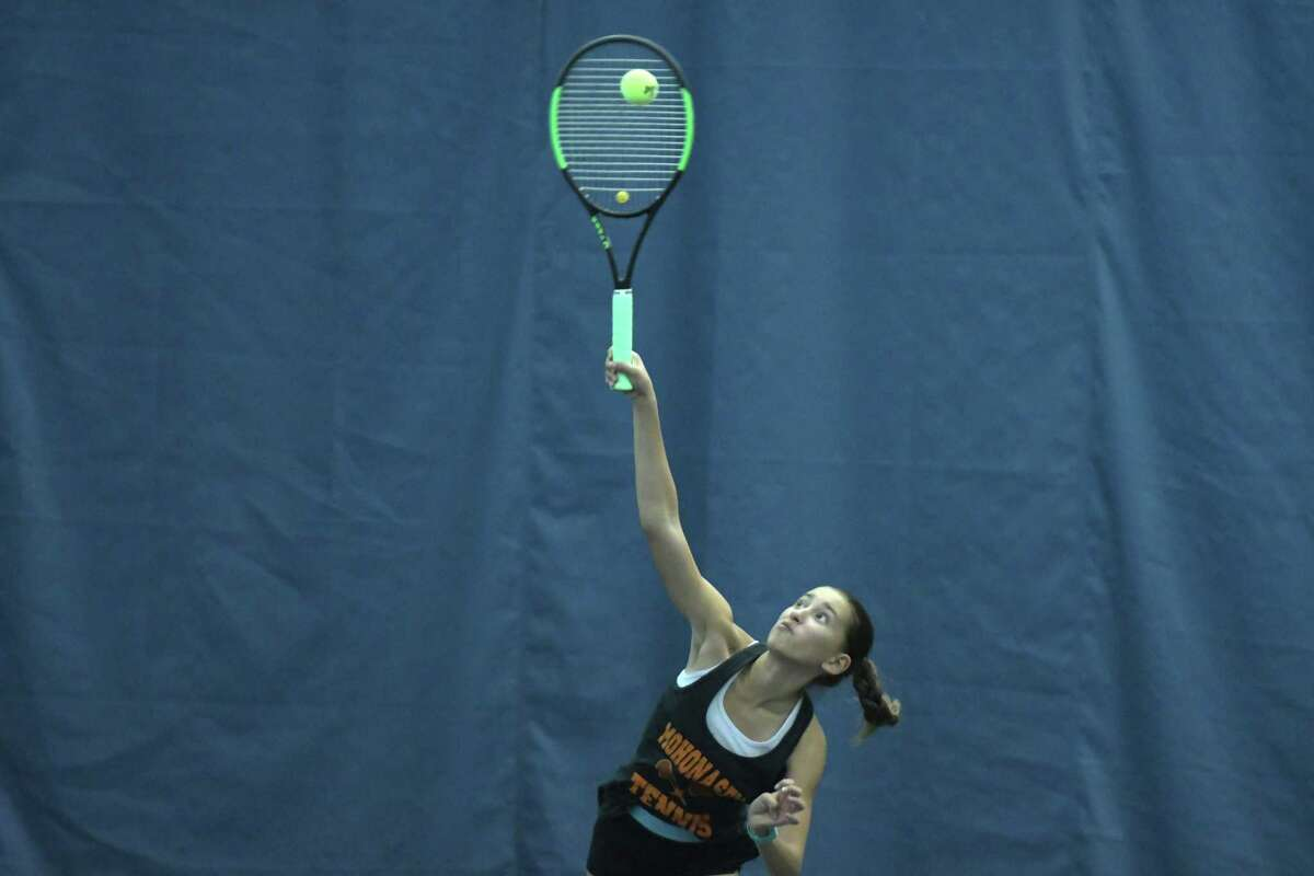 Loren Cuomo of Mohonasen in her match against Haejin Lee of Shaker during the Section II Tennis Finals on Tuesday, Oct. 24, 2017, in Schenectady, N.Y. (Paul Buckowski / Times Union)