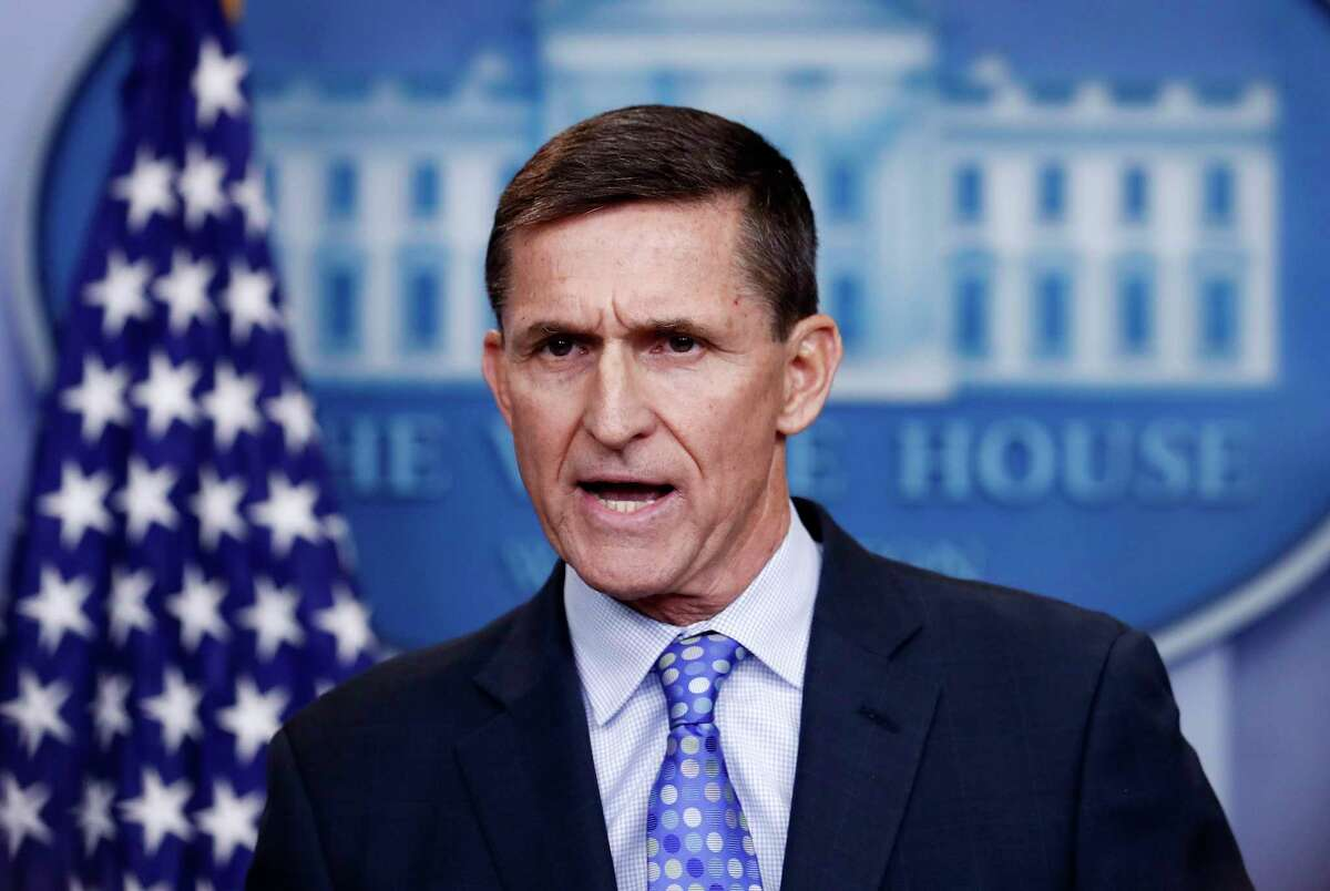 In this Feb. 1, 2017 file photo, National Security Adviser Michael Flynn speaks during the daily news briefing at the White House, in Washington. Court documents revealed that Flynn planned to plead guilty to a single count of Â?
