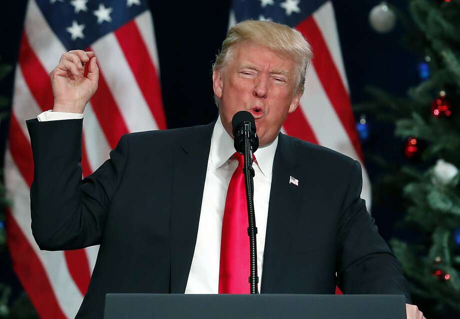 In this Nov. 29, 2017, photo, President Donald Trump speaks about tax reform in St. Charles, Mo, last Wednesday. Tech firms remained largely quiet this week about the tax bill and its broader implications. Photo: Jeff Roberson, Associated Press