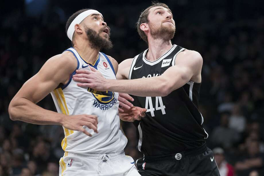Brooklyn Nets center Tyler Zeller (44) and Golden State Warriors center JaVale McGee compete for a rebound during the first half of an NBA basketball game, Sunday, Nov. 19, 2017, in New York. (AP Photo/Mary Altaffer) Photo: Mary Altaffer, Associated Press