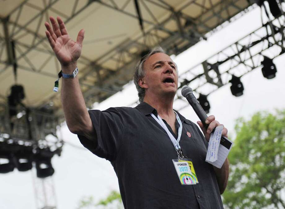Event organizer Ray Dalio speaks at the 2017 Greenwich Town Party at Roger Sherman Baldwin Park in Greenwich, Conn. Saturday, May 27, 2017. Photo: Tyler Sizemore / Hearst Connecticut Media / Greenwich Time