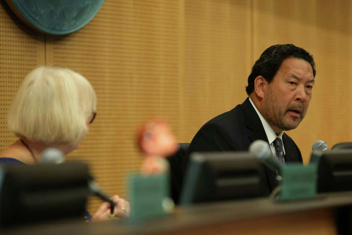 Council President Bruce Harrell speaks during a City Council meeting in which the council voted 7-1 in favor of an agreement with Oak View Group to renovate KeyArena, Monday, Dec. 4, 2017.