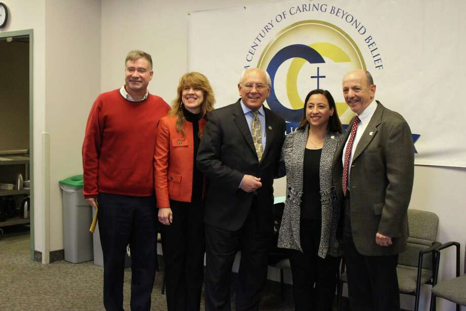 Throughout 2017, Catholic Charities awarded 100 centennial medallions to individuals and groups for distinctive service to the poor and vulnerable. Pictured here from a recent award ceremony in Albany, from left, are former congressman Chris Gibson and MaryJo Gibson; U.S. Rep. Paul Tonko; Shari Golub-Schillinger, president of Catholic Charities Board; and Vincent W. Colonno, CEO of Catholic Charities.