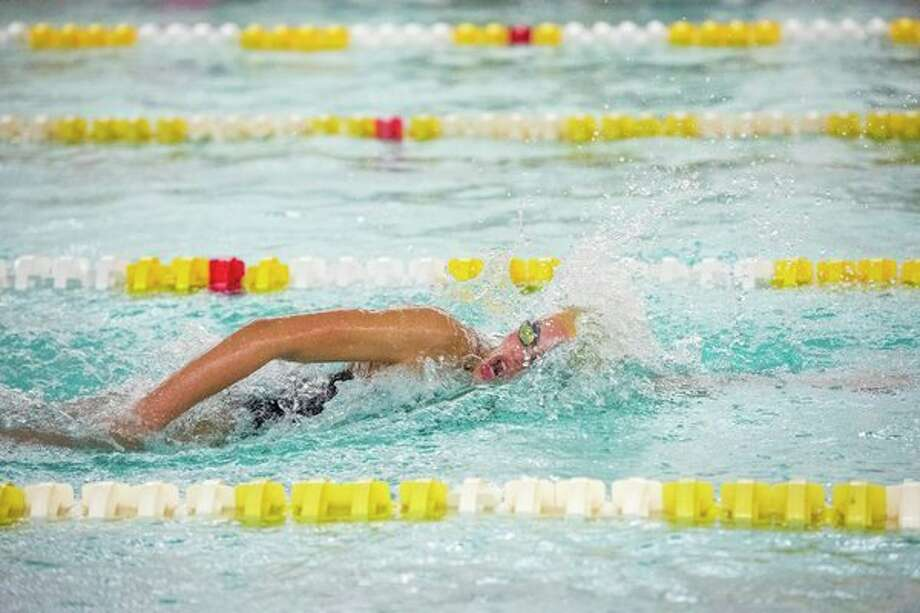 Claire Newman, shown here competing in a meet for Dow High in September, will swim at the USA Swimming Junior Championships in Tennessee this week. (Danielle McGrew Tenbusch/for the Daily News)