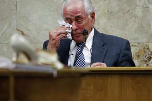 Dale Tacheny testifies during John Feit's trial Monday at the Hidalgo County Courthouse in Edinburg. Feit, a former Catholic priest, is on trial for the slaying of a South Texas teacher and ex-beauty queen 57 years ago.