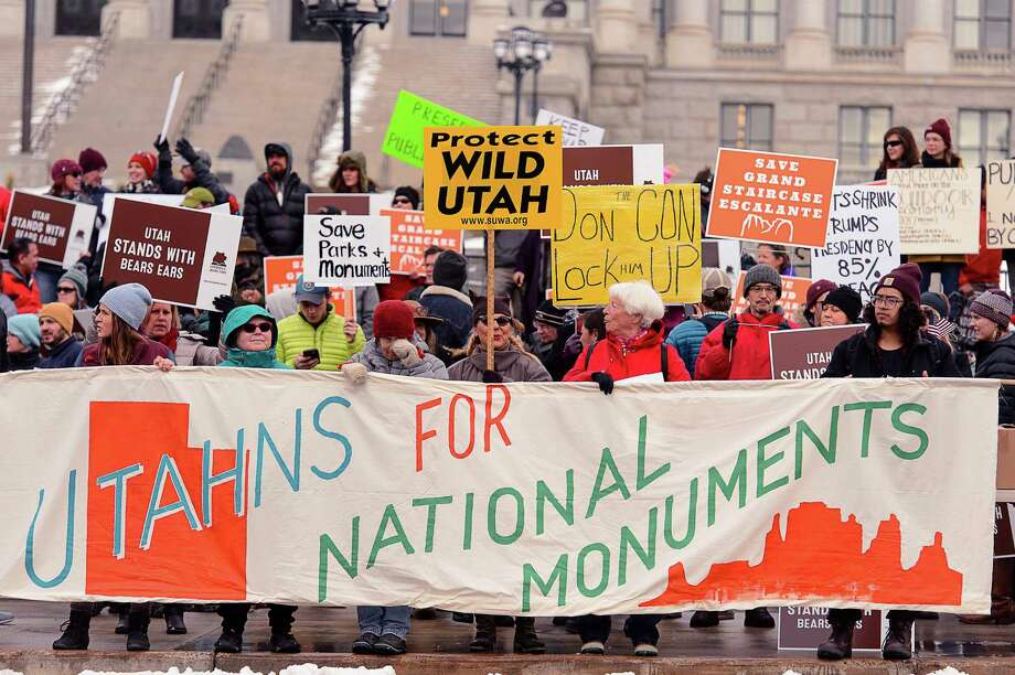 Demonstrators in Salt Lake City protest Monday against scaling back two national monuments.  Photo: Trent Nelson, MBI / 2017 Trent Nelson