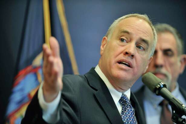 State Comptroller Thomas DiNapoli discusses the findings of a statewide audit on nursing homes on Monday, Feb. 22, 2016, in Albany, N.Y. A new audit by the comptroller's office found issues with the way the state?s Department of Agriculture and Markets oversees data collection. (Paul Buckowski / Times Union archive)