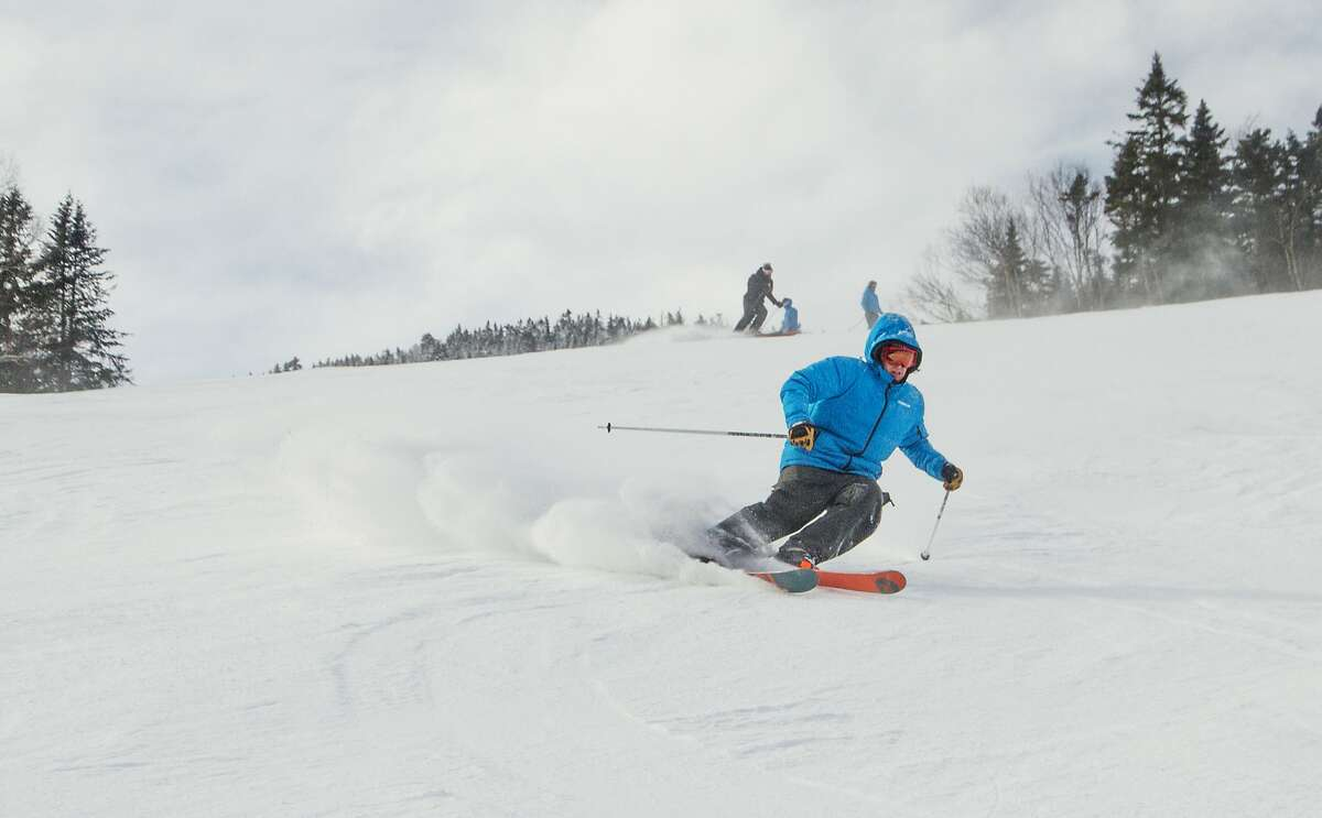 A man skis on the snowy slopes of Whiteface Mountain, in Lake Placid, N.Y.