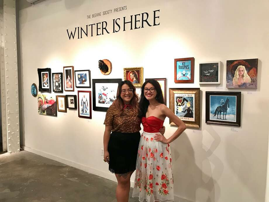 """Tam-Anh Nguyen and Shiu Pei Luu at the """"Winter is Here"""" holiday market and art show. Photo: Beth Spotswood"""