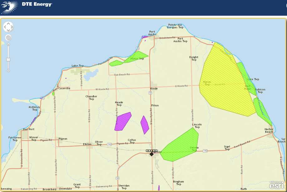 The colored areas show where power is reportedly out in Huron County. Visithttp://dteenergy.com/map/outage.html to view the map and search for specific zip codes.