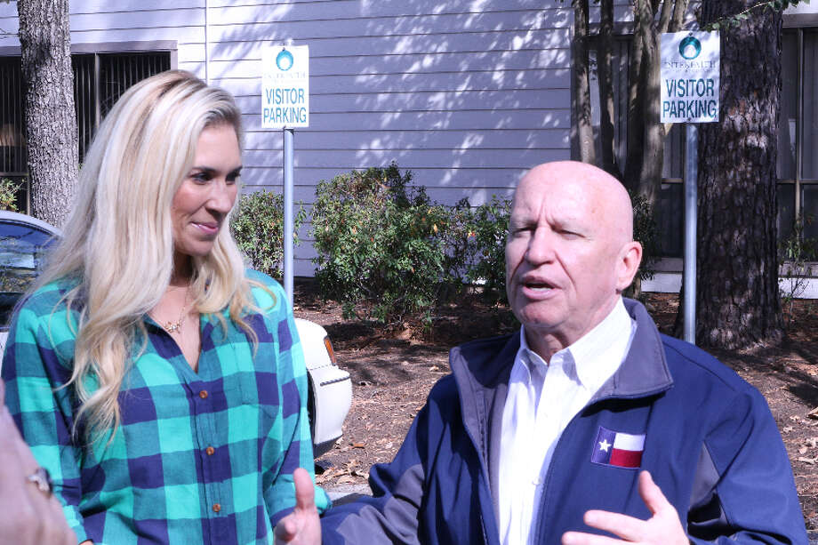 Congressman Kevin Brady, right, and Missy Herndon, President and CEO of Interfaith of The Woodlands discuss the need for holiday gifts and toys after Hurricane Harvey. Photo: Submitted Photo