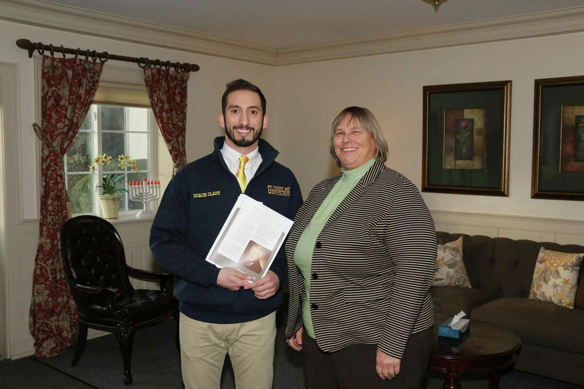 On Thursday, Nov. 29, Matt Clady (left) was honored with Devereux's Thomas Donovan Culture of Caring Award by Glenholme Assistant Executive Director Judy Cooper (right).