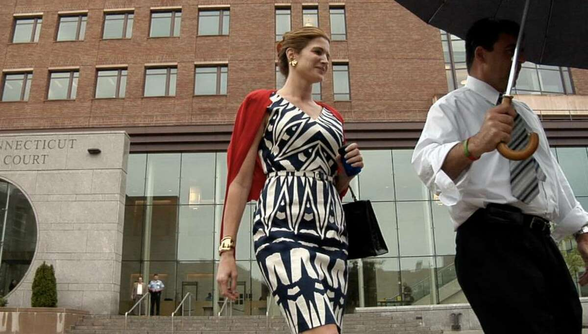 Stephanie Seymour leaves Superior Court at Stamford Monday June 28, 2010 after a hearing in connection to divorce of her husband Peter Brant.