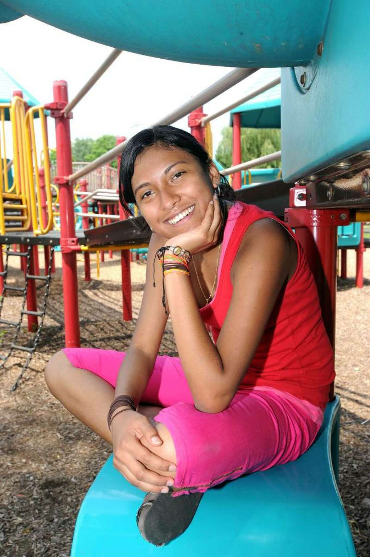 """Jennifer Hernandes, 15, of Danbury, moved to the U.S. from Nicaraqua a year and a half ago. """"America for me means my second home, a country of opportunity where I can progress in this country to be a professional, and in that way help my family."""